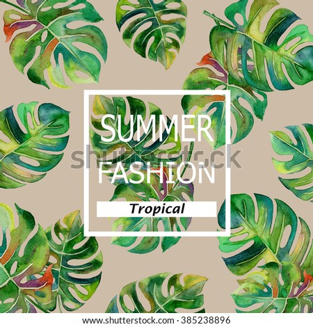 tropical Split Leaves plant tropical forest watercolor print spring summer hawaii painting pattern with text  on brown  background illustration - stock photo