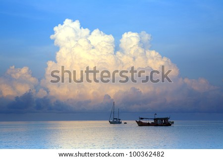 Tropical storms and a boat in Thailand