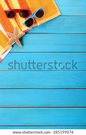 Tropical summer beach background vertical, copy space - stock photo