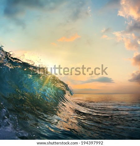 tropical summer design template beautiful ocean surfing wave breaking out - stock photo