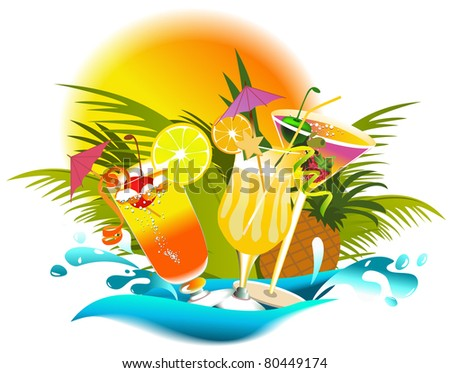 Tropical summer drinks - stock photo