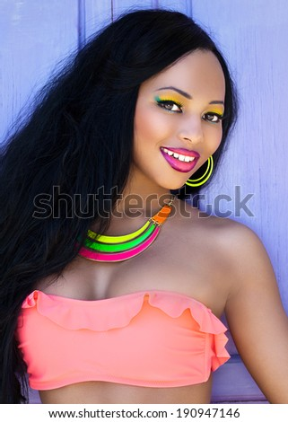 Tropical summer holiday fashion beauty concept  - stock photo