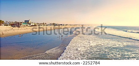 Tropical sunset at the beach - stock photo