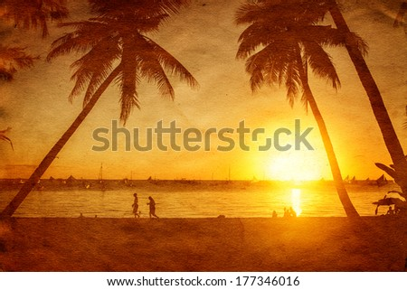 Tropical sunset, grunge style