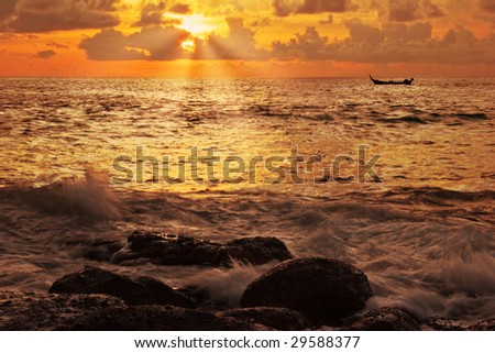 Tropical sunset. Karon beach. Phuket island. Kingdom Thailand
