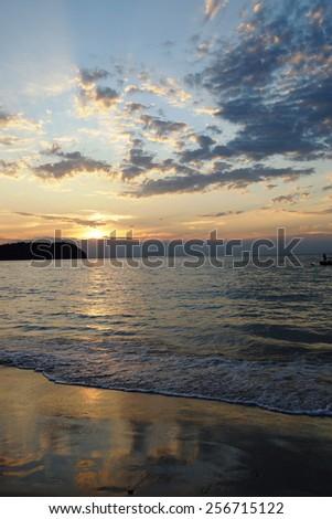 Tropical sunset, Myanmar  - stock photo