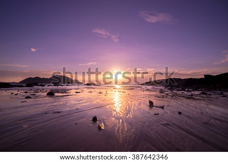 Tropical sunset on the beach. Lanta island. Thailand - stock photo