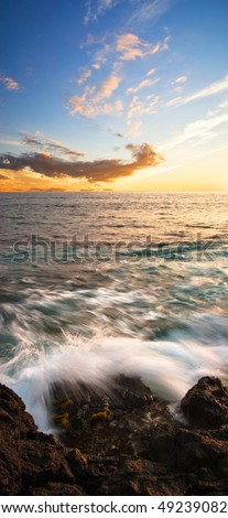 Tropical sunset on the Big Island. Hawaii. USA. - stock photo