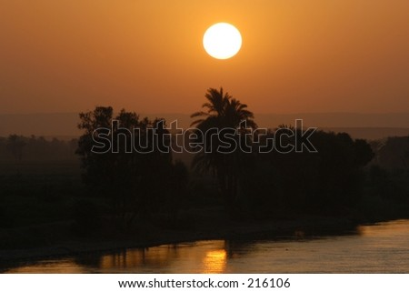 Tropical sunset on the Nile river, Egypt - stock photo