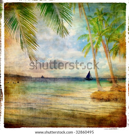 tropical sunset - retro styled picture - stock photo