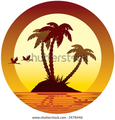 Tropical vacation: sunset, island, palms and flying birds