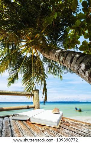 Tropical vacation, vertical composition - stock photo