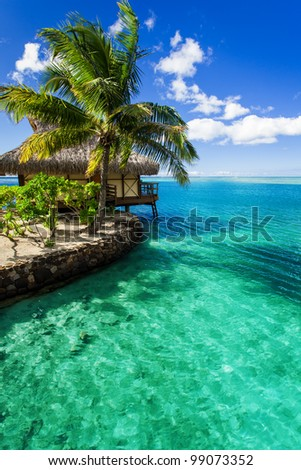 Tropical villa and palm tree next to amazing green lagoon - stock photo