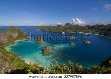 Tropical West Papua New Guinea Raja Ampat - stock photo