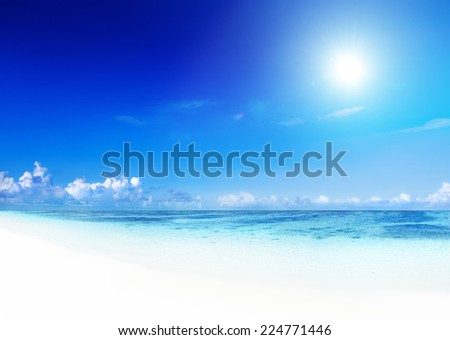 Tropical white sand beach. - stock photo