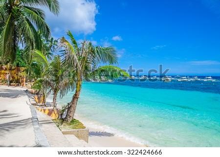 Tropical white sand beach, Philippines, Southeast Asia - stock photo