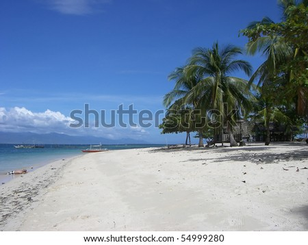 Tropical white sandy beach with palm trees against a blue sky. Honda Bay, Indian Ocean, Philippines.
