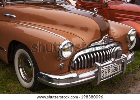 TROSA, SWEDEN - JUNE 5, 2014 Veteran car meeting in the small town Trosa, Sweden. BUICK SUPER, model year, 1948.