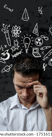 trouble thinking young male hard work - stock photo