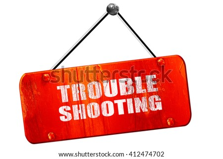 troubleshooting, 3D rendering, vintage old red sign - stock photo