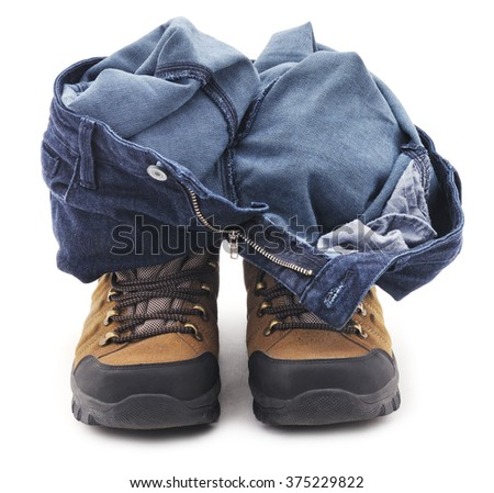 Trousers and shoes isolated on white background.
