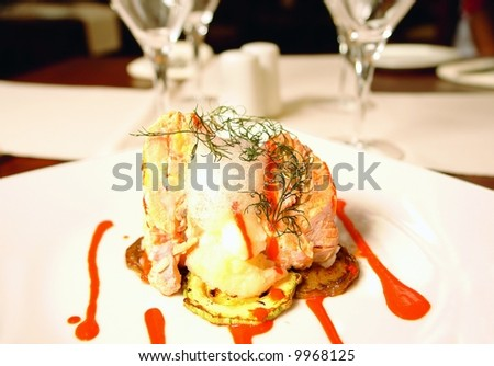 Trout fillet stuffed with jumbo shrimp and served with molecular foam - stock photo