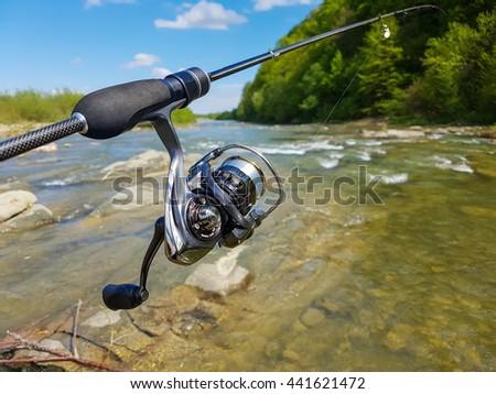 Trout fishing.   - stock photo
