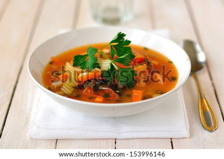 Trout, Tomato and Chili Soup - stock photo