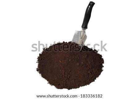 Trowel and soil isolated on white background