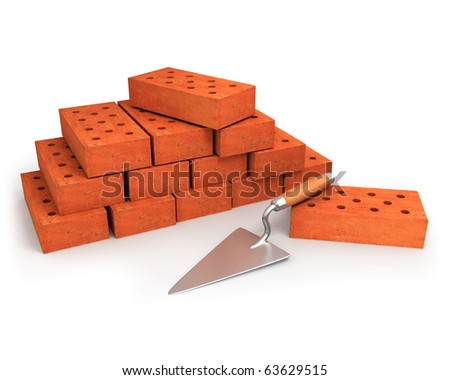 Trowel and stack of bricks isolated on white - stock photo