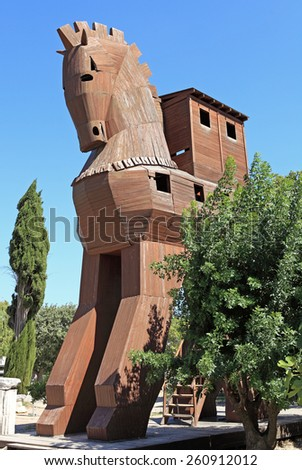 Troy horse imitation in the actual city of Troy in Turkey - stock photo