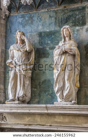 TROYES, FRANCE - MAY 17, 2014: Interior of Saint Pantaleon church. Saint Pantaleon church (Eglise Saint-Pantaleon, 16th - 17th C) - Late Gothic church with numerous statues and stained glass windows. - stock photo