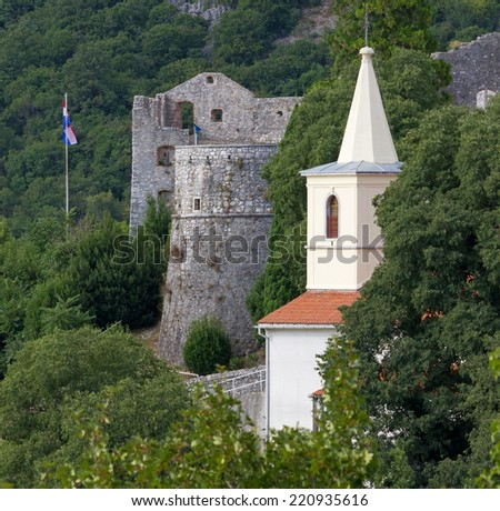 Trsat Castle Ruins and a Bell Tower in Rijeka, Croatia