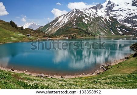 Trubsee lake is a mountain lake, Engelberg, Switzerland. - stock photo