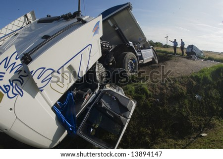 truck accident - stock photo