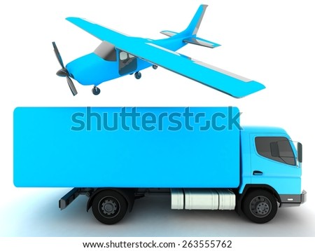 truck and airplane - stock photo