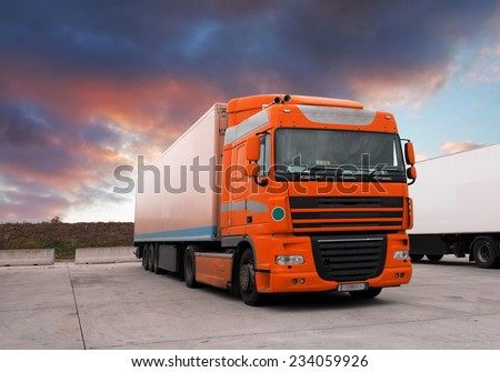 Truck at sunet - stock photo
