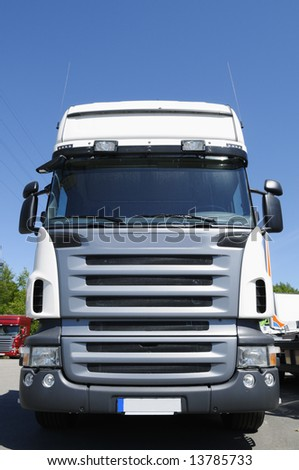 truck cabin, frontal exterior view - stock photo