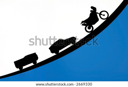 Truck car and motorcycle silhouette, transportation concept with copyspace