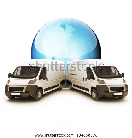 Truck Courier World wide concept with room for copy space - stock photo
