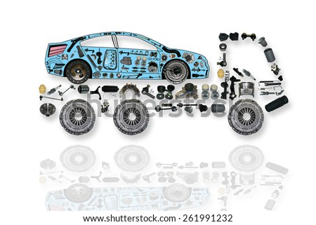 Truck delivers the car to the service maintenance. Truck assembled from new auto, spare parts. Spare parts for shop, aftermarket, OEM. Truck with spare parts. New spare parts for shop. Evacuator - stock photo