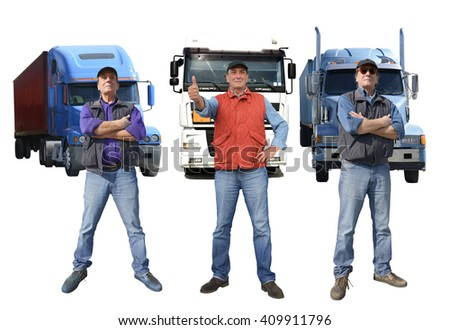 Truck drivers delivering, isolated on white - stock photo