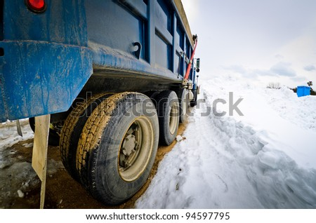 Truck driving in a winter.