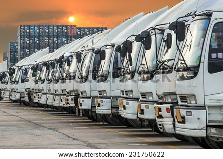 Truck in container depot - stock photo