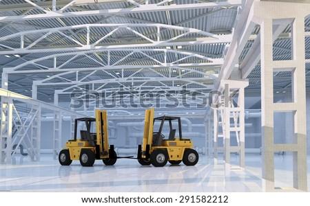 Truck in empty hangar. - stock photo