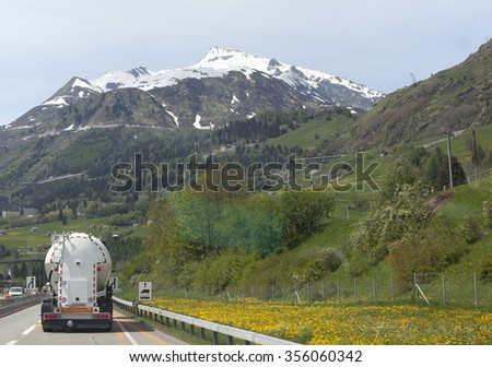 truck in the alps - stock photo