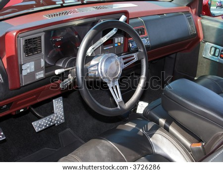 Truck Interior with New Leather Seats - stock photo