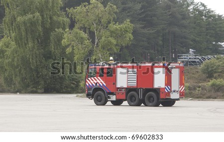 Truck is parked at an open space - stock photo