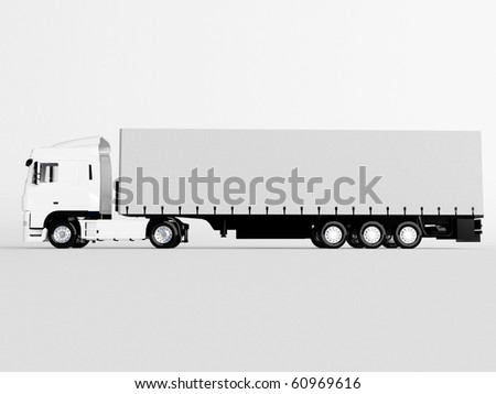 truck isolated on white - stock photo
