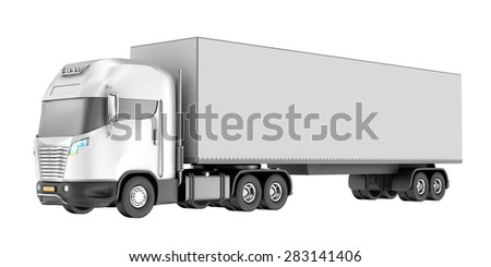Truck isolated over white. My own design. - stock photo